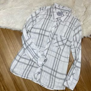 Rails White and Gray Plaid Top